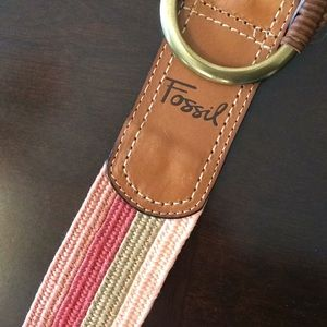 Fossil Accessories - NWOT Fossil Stretch Wrap Buckle Red Multi Belt L